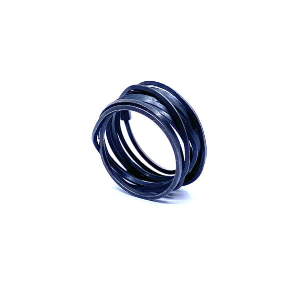 Anna Davern — Oxidised Silver Coil Ring - Australian made Jewellery