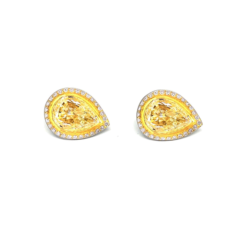 Anna Davern — Small Pear Yellow Sapphire Stud Earrings - Australian made Jewellery