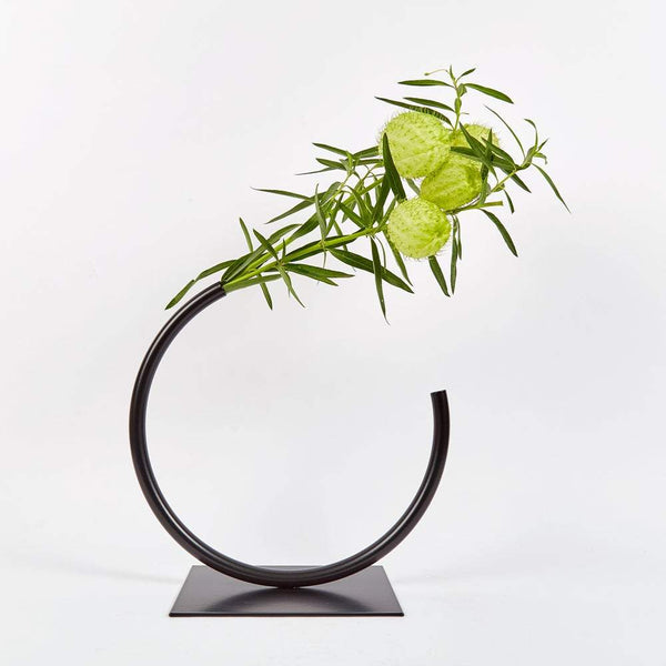 Anna Varendorff, ACV Studio — Black Circle Sculpture | Vase (for medium to thick foliage) - Australian made Homewares