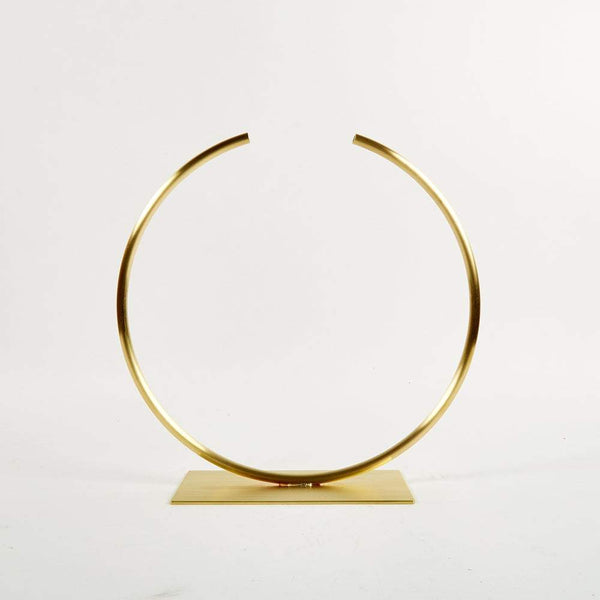 Anna Varendorff, ACV Studio — Brass Circle Sculpture | Vase (for medium to thick foliage) - Australian made Jewellery