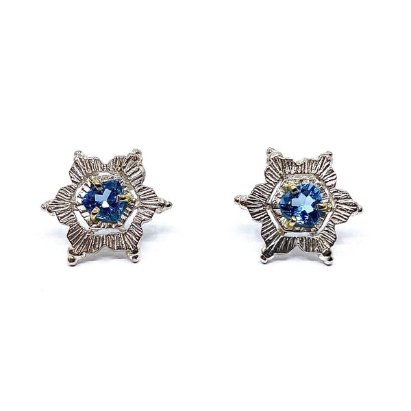 Aurelia Yeomans — Blue Topaz, Gold and Sterling Silver 'Crystal Studs' Earrings - Australian made Jewellery