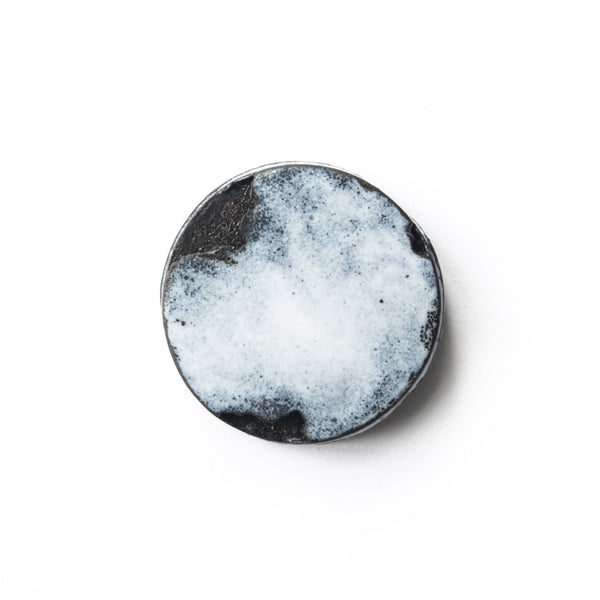 Aurelia Yeomans — Charcoal and White Vitreous Enamel Brooch - Australian made Jewellery