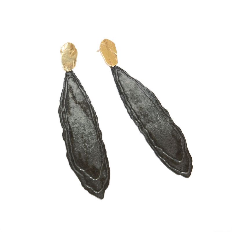 Aurelia Yeomans — Charcoal Enamel and Gold 'Rising Sun' Earrings - Australian made Jewellery