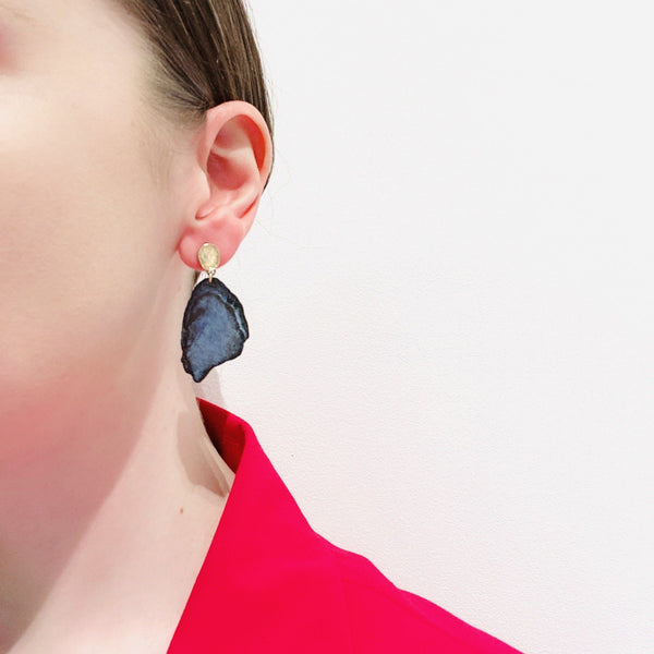 Aurelia Yeomans — Charcoal Enamel and Gold 'Sun and Earth' Earrings - Australian made Jewellery