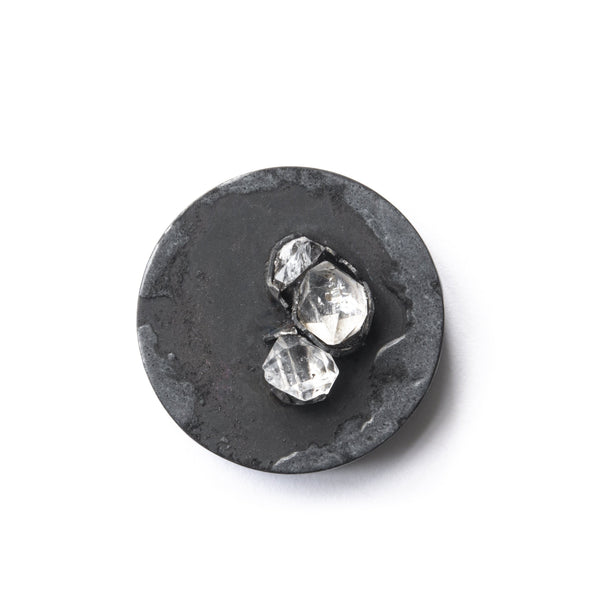 Aurelia Yeomans — Charcoal Enamel and Herkimer Diamonds Brooch - Australian made Jewellery
