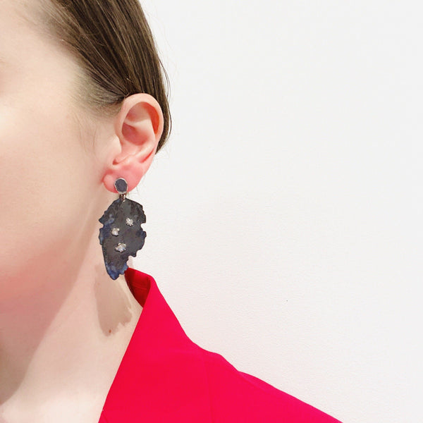 Aurelia Yeomans — Charcoal Enamel and Rose-Cut Diamond 'Hidden Depths' Earrings - Australian made Jewellery