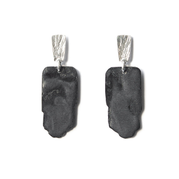 Aurelia Yeomans — Charcoal Enamel and Sterling Silver 'Hammered Stone Drops' Earrings - Australian made Jewellery