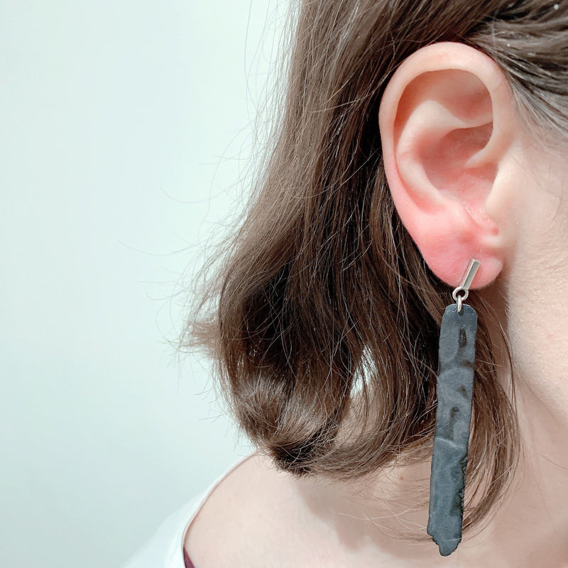 Aurelia Yeomans — Charcoal Enamel and Sterling Silver 'Long Stone Drops' Earrings - Australian made Jewellery