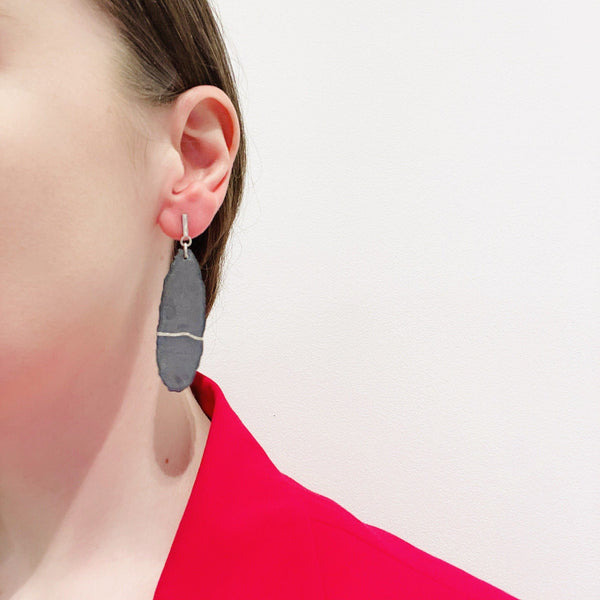 Aurelia Yeomans — Charcoal Enamel and Sterling Silver 'Raw Stone' Earrings - Australian made Jewellery