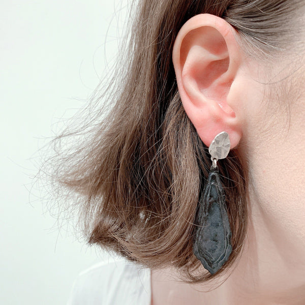 Aurelia Yeomans — Charcoal Enamel and Sterling Silver 'Shores' Earrings - Australian made Jewellery