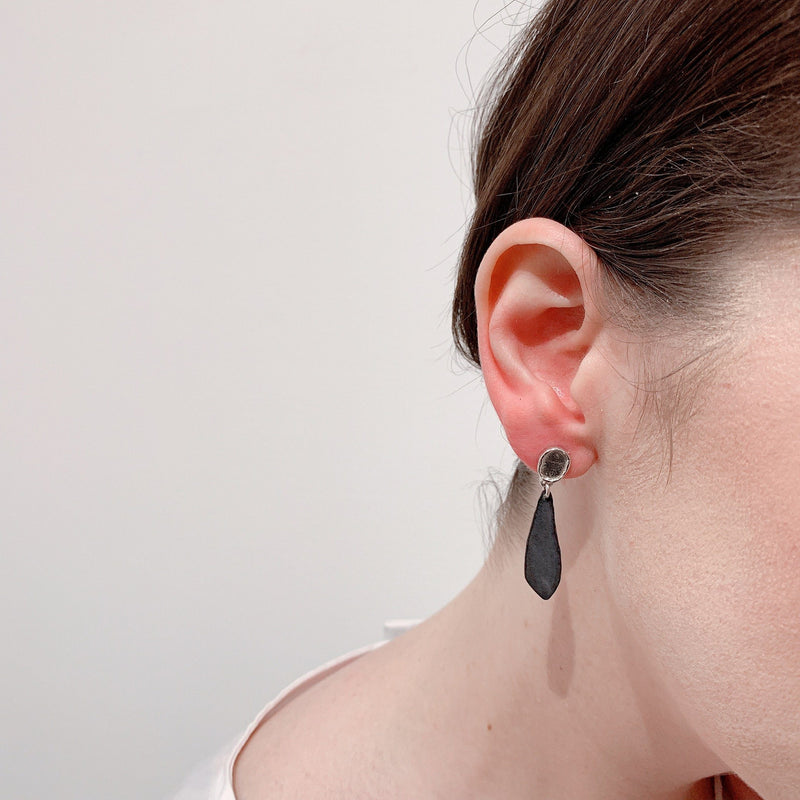 Aurelia Yeomans — Charcoal Enamel and Sterling Silver 'Small Stone Drops' Earrings - Australian made Jewellery