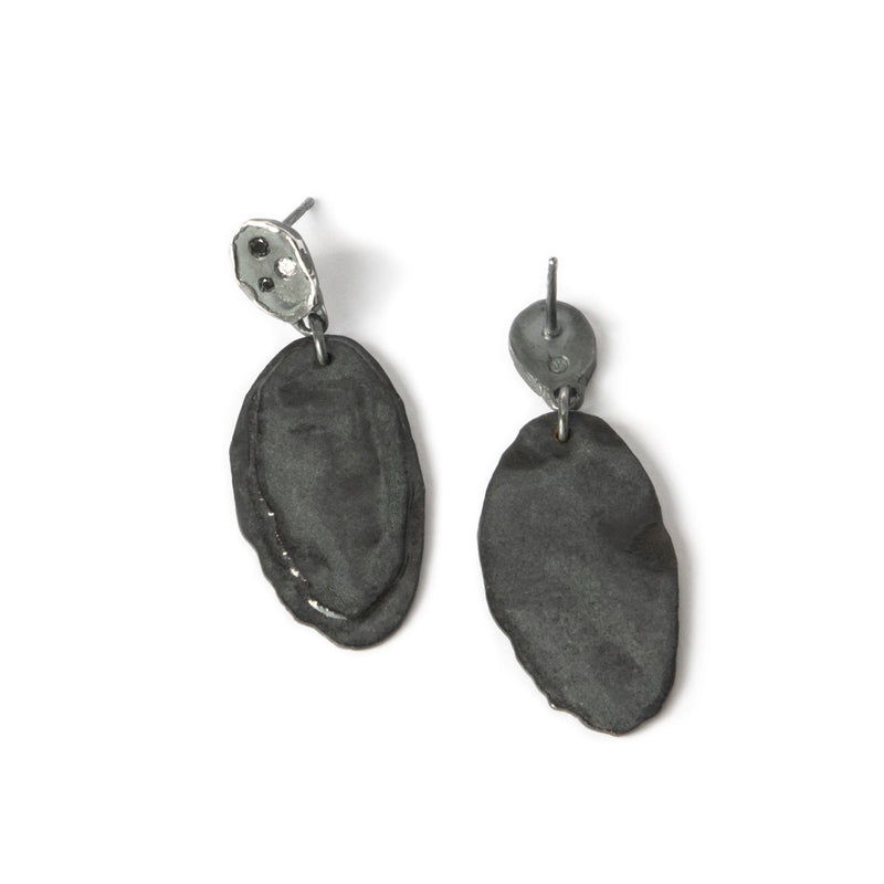 Aurelia Yeomans — Charcoal Enamel and White and Black Diamonds 'Rocks and Starlight' Earrings - Australian made Jewellery