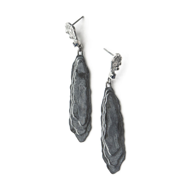 Aurelia Yeomans — Charcoal Enamel, Black Sapphires and Black Spinel 'Evening Rocks' Earrings - Australian made Jewellery