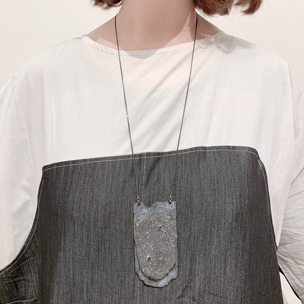 Aurelia Yeomans — Enamel, Slate, Oxidised Silver and Black Cubic Zirconia Neckpiece - Australian made Jewellery
