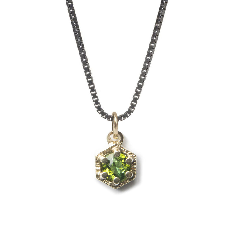 Aurelia Yeomans — Green Tourmaline, Gold and Oxidised Sterling Silver 'Molecular' Necklace - Australian made Jewellery