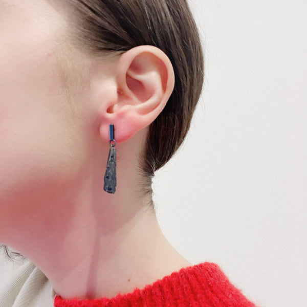 Aurelia Yeomans — Oxidised Sterling Silver and Australian Sapphire 'Rocky Studs' Earrings - Australian made Jewellery