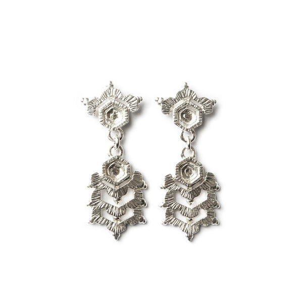 Aurelia Yeomans — Polished Sterling Silver 'Crystal Drops III' Earrings - Australian made Jewellery