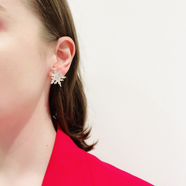 Aurelia Yeomans — Polished Sterling Silver 'Snowflake Studs' Earrings - Australian made Jewellery
