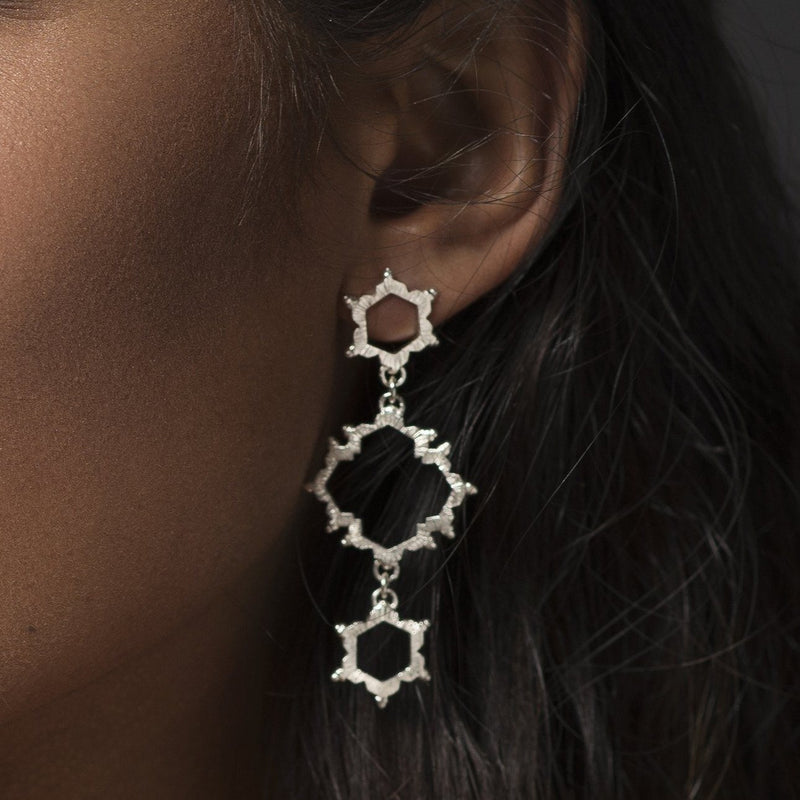Aurelia Yeomans — Sterling Silver 'Asymmetrical Water Frequency' Earrings - Australian made Jewellery