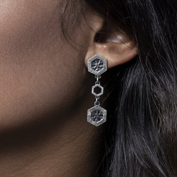 Aurelia Yeomans — Sterling Silver 'Medium Crystal Drops' Earrings - Australian made Jewellery