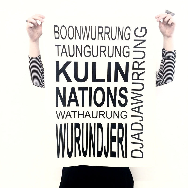 Baluk Arts — Kulin Nation Tea Towel in White and Black - Australian made Textiles