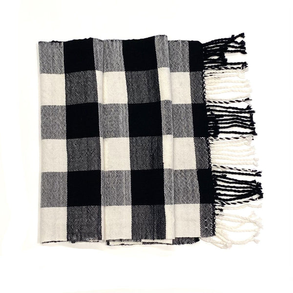 Beck Jobson — Handwoven Merino Check Throw | Wrap in Black and White Textiles Beck Jobson | Craft