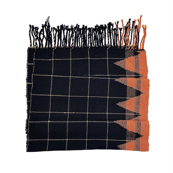 Beck Jobson — Handwoven Merino Throw | Wrap in Black and Terracotta Textiles Beck Jobson | Craft