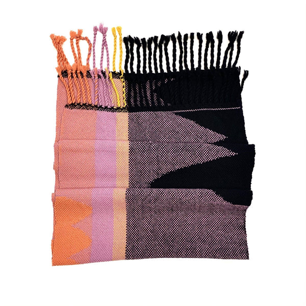 Beck Jobson — Handwoven Mixed Fibre Throw | Wrap in Black and Pink Textiles Beck Jobson | Craft