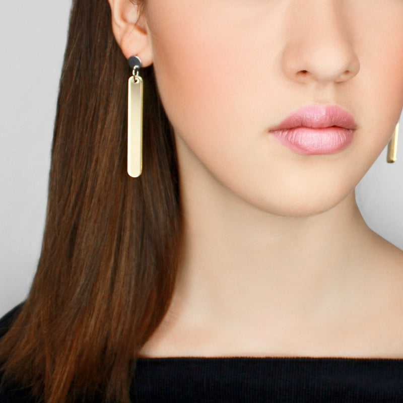 bëuy — Dot Your I's Earrings Mirrored Gold - Australian made Jewellery