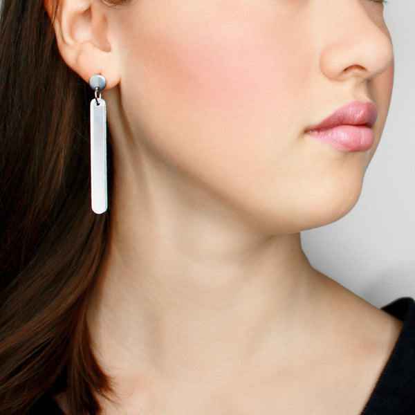 bëuy — Dot Your I's Earrings Mirrored Silver - Australian made Jewellery