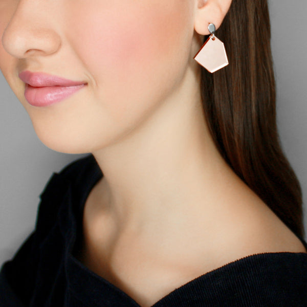 bëuy — Droplet Earrings Mirrored Rose Gold - Australian made Jewellery