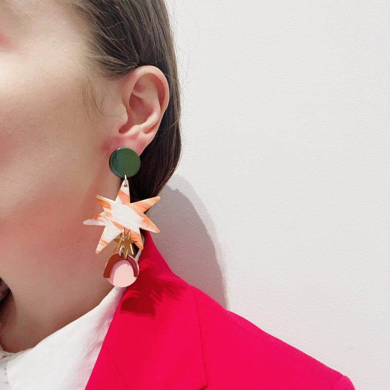 Bianca Marvrick — Tortoise Shell Aster Earrings - Australian made Jewellery