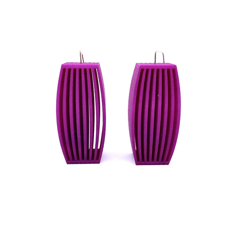 Bin Dixon-Ward — Extra Tall Pink Louvre Earrings - Australian made Jewellery