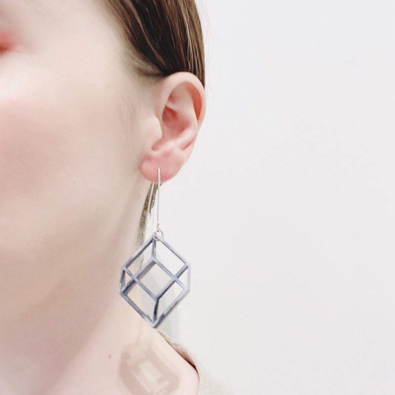 Bin Dixon-Ward — Large Grey Pop Earrings - Australian made Jewellery
