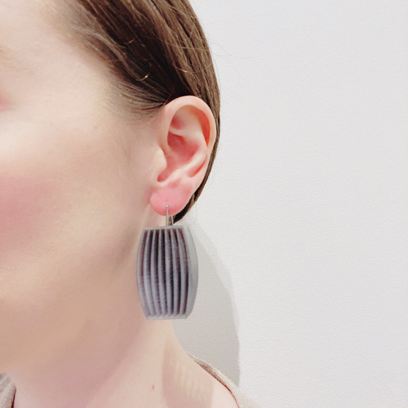 Bin Dixon-Ward — Grey Louvre Earrings - Australian made Jewellery