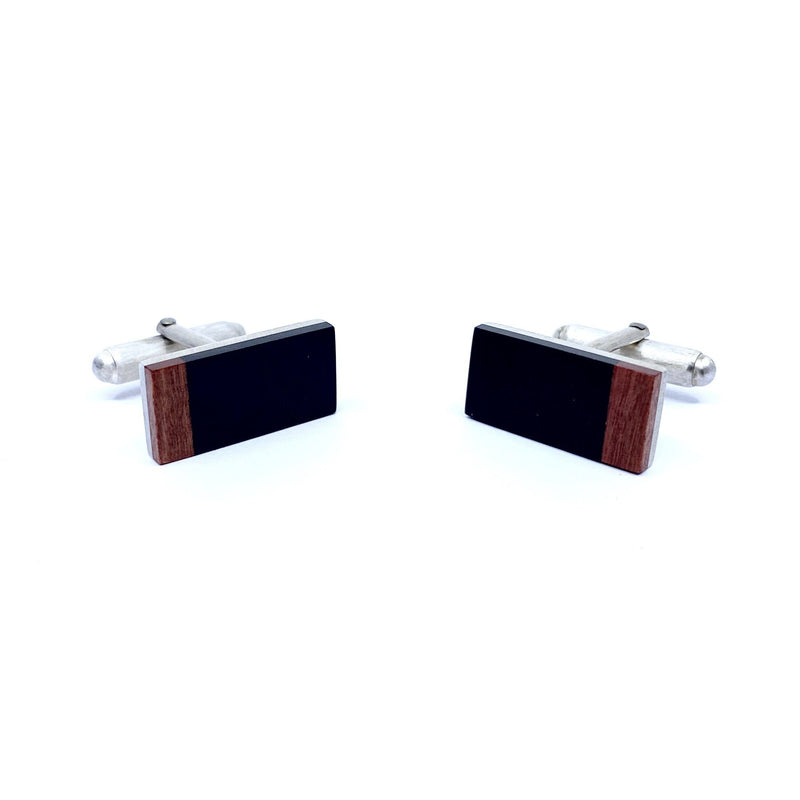 Brendon Collins — Ebony and Pink Ivory Wood 'Passage' Cufflinks - Australian made Jewellery