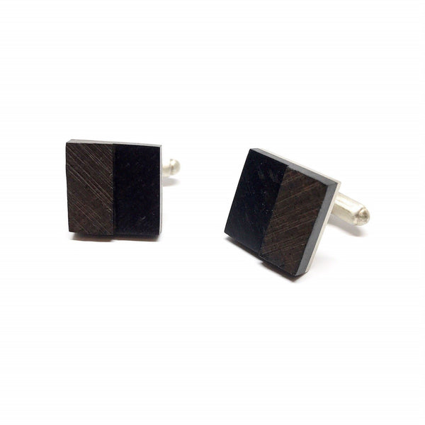 Brendon Collins — Square Storm Ebony Cufflinks - Australian made Wood