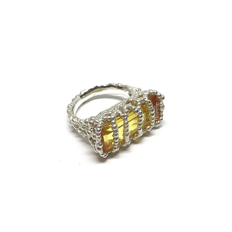 Cashmere Malekitsch — Caged Yellow Verneuil Sapphire 'Champagne and Caviar' Ring - Australian made Jewellery
