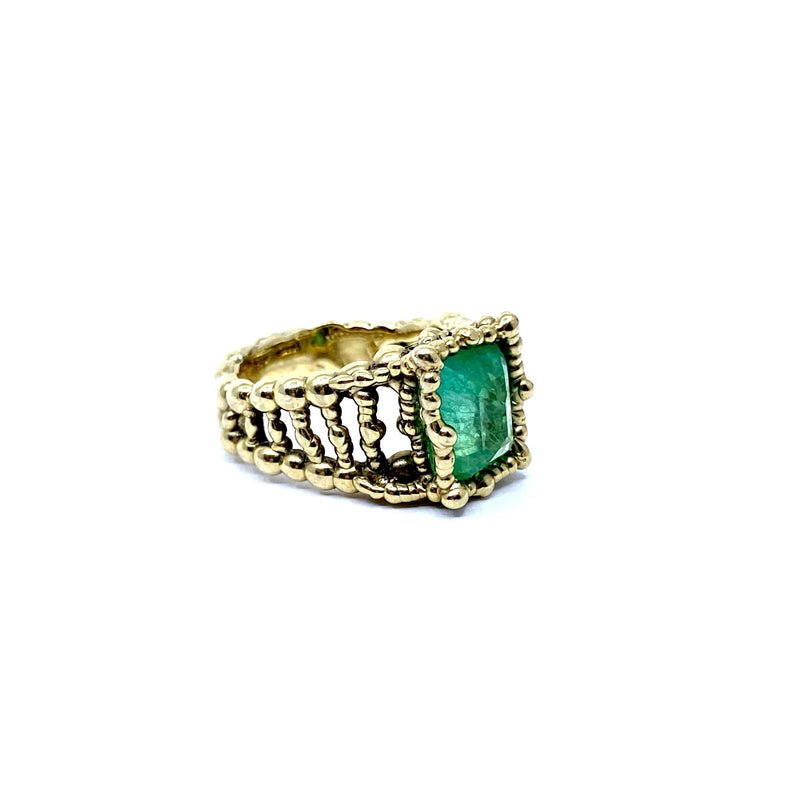 Cashmere Malekitsch — Gold and Green Lab Grown Emerald Ring - Australian made Jewellery