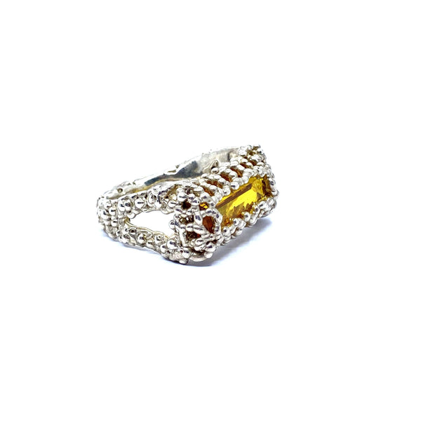 Cashmere Malekitsch —Silver and Lab Grown Citrine Ring - Australian made Jewellery