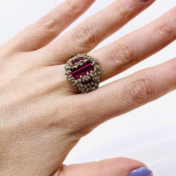 Cashmere Malekitsch — Silver and Three Pink Verneuil Rubies 'Champagne and Caviar' Ring - Australian made Jewellery