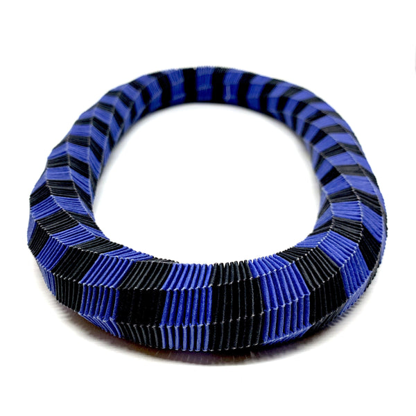 Catrine Berlatier — Black and Blue Woven Paper Neckpiece - Australian made Jewellery