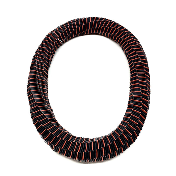Catrine Berlatier — Black and Red Woven Paper Neckpiece - Australian made Jewellery