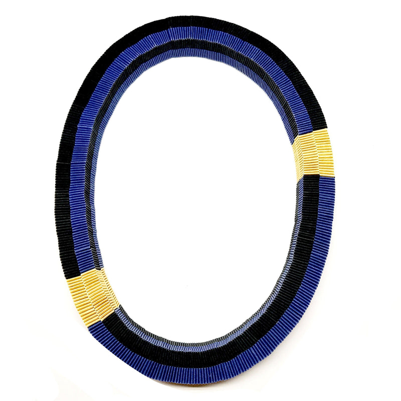 Catrine Berlatier — Blue and Gold Woven Paper Neckpiece - Australian made Jewellery