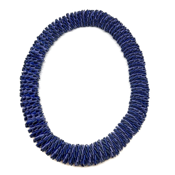 Catrine Berlatier — Blue and Purple Woven Paper Neckpiece - Australian made Jewellery
