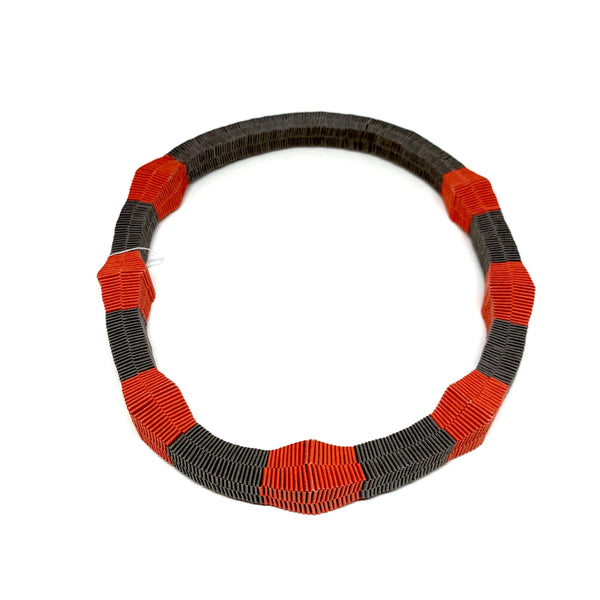 Catrine Berlatier — Tan and Red Woven Paper Neckpiece - Australian made Jewellery