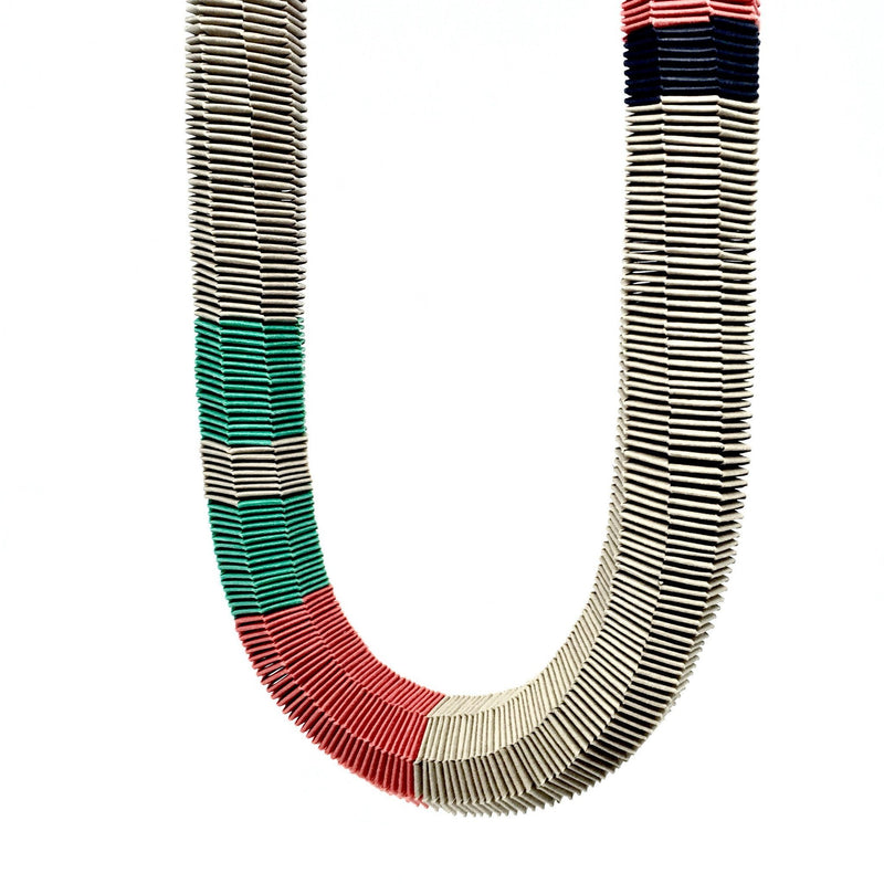 Catrine Berlatier — Tan, Red and Green Woven Paper Neckpiece - Australian made Jewellery