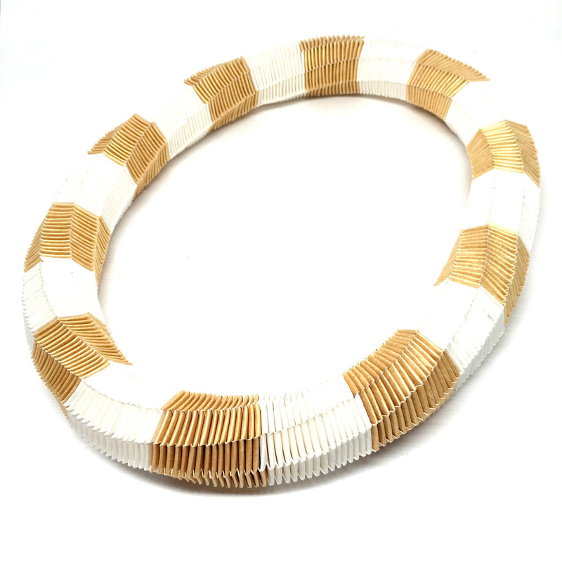 Catrine Berlatier — White and Gold Woven Paper Neckpiece - Australian made Jewellery
