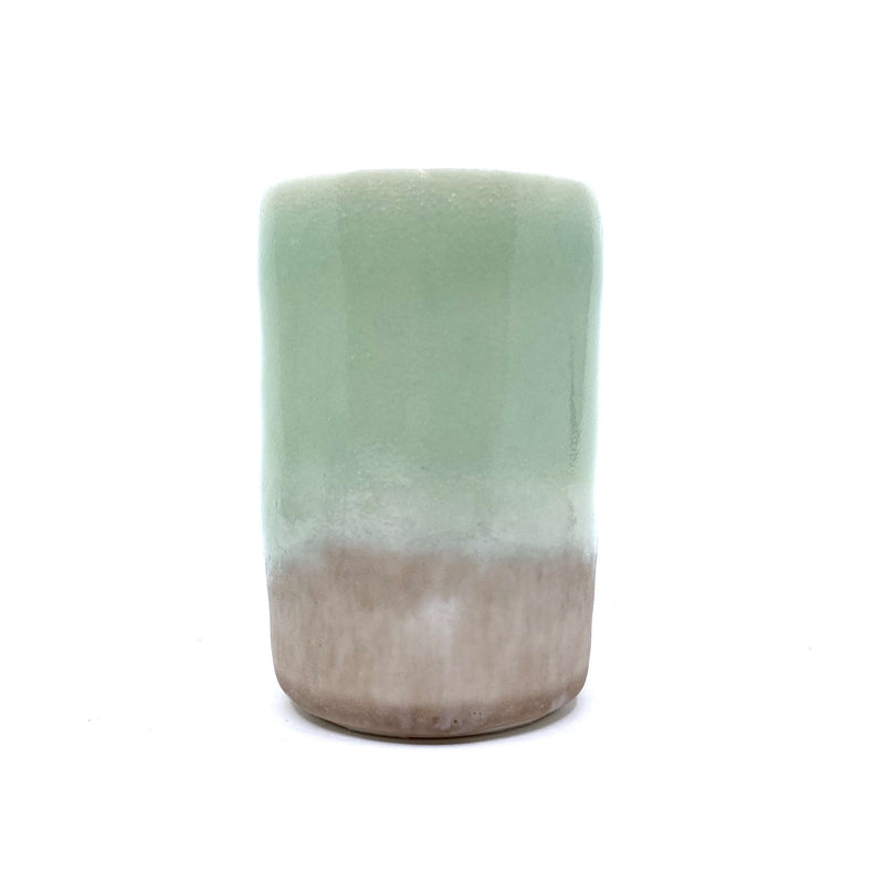 Christopher Plumridge, Claystone Pottery — Celadon Water Beaker with Pink Crystal Base - Australian made Ceramics