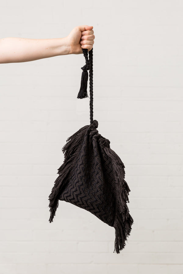 Daisy Watt — 'Black Bean' Handwoven Drawstring Bag - Australian made Textiles